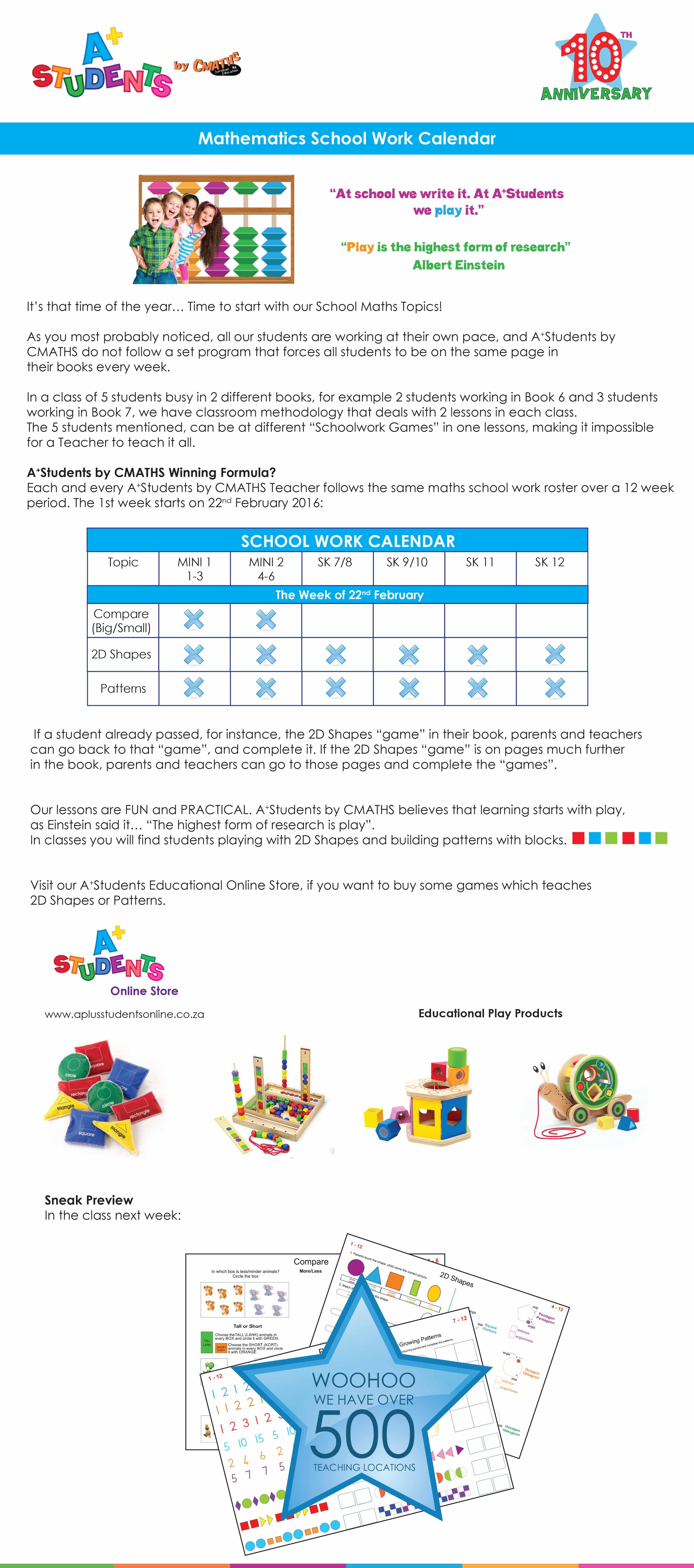 A⁺Students School Work Calendar - A+Students | Soroban Education